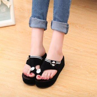 2017 Women's Platform Shoes Toe Clip Heeled Sandals Summer ShoesBling Rhinestone Sandals Outdoor Slippers Black - intl - 2