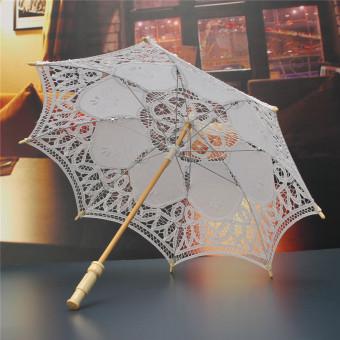 "23"" Lace Cotton Parasol Bridal Wedding Decoration Girl Umbrella White"