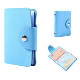 24 Slots Credit Business Card Holder PU Leather Wallet (Blue) -intl