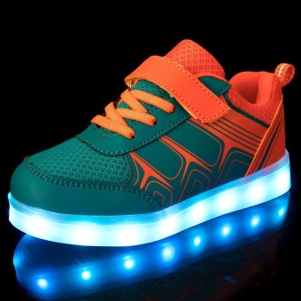 25-37 Size USB Charging Basket Led Children Shoes With Light Up Kids Casual Boys&Girls Luminous Sneakers Glowing Shoe-orange - intl