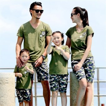 2PCS/Set Family Matching Beach Costume Clothes Camouflage PrintedShort T-shirts + Pants(Kids) - intl - 2