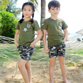 2PCS/Set Family Matching Beach Costume Clothes Camouflage PrintedShort T-shirts + Pants(Kids) - intl - 4