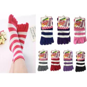 3 Pairs Breathable Five Finger Regular Stripe Socks 123g