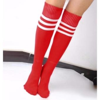 3 Pairs Men Ladies Stripe Soccer Football Running Knee High TubeSocks Sports Stockings 128g - 3