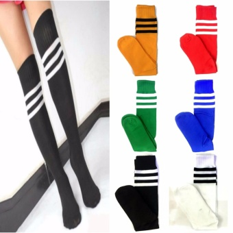 3 Pairs Men Ladies Stripe Soccer Football Running Knee High TubeSocks Sports Stockings 128g
