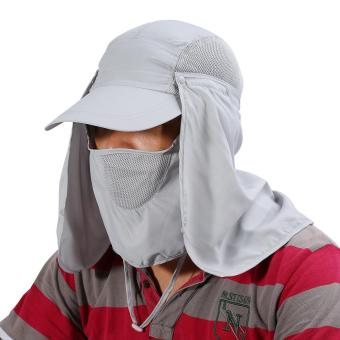 360 Degree Quick Drying UV Protection Cap Neck Ear Flap Cover For Outdoors(grey) - intl