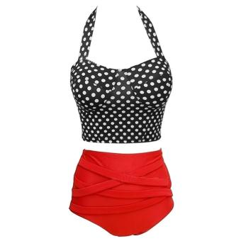 360DSC Women Black & White Dots Bikini Halter Swimwear HighWaist Two Pieces Swimsuit Price Philippines