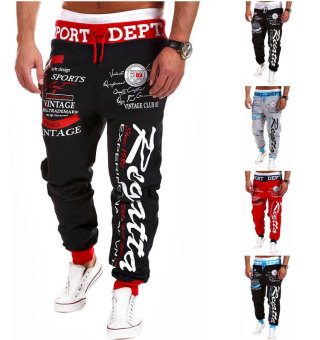 'Men''s Fashion Casual Letters Printed Patch Pocket Sports Bundle Foot Cotton Sweat Absorbent Pants Trousers Joggers(Color:Black2)'