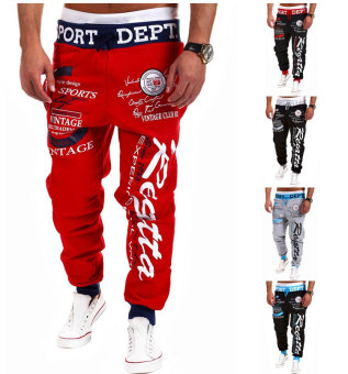 'Men''s Fashion Casual Letters Printed Patch Pocket Sports Bundle Foot Cotton Sweat Absorbent Pants Trousers Joggers(Color:Black2)' - 2