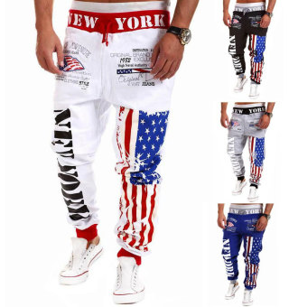 'Men''s Fashion Casual Letters Printed Patch Pocket Sports Bundle Foot Cotton Sweat Absorbent Pants Trousers Joggers(Color:White13)'
