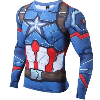 3D Printed T-shirts Captain America Compression Shirt Long SleeveCosplay Costume Clothing Tops Male Halloween Costumes For Men -intl - 3