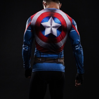 3D Printed T-shirts Captain America Compression Shirt Long SleeveCosplay Costume Clothing Tops Male Halloween Costumes For Men -intl - 2