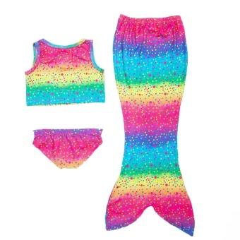 3Pcs Rainbow Mermaid Tail Swimsuit Set Girls Bikini Swimwear withMermaid Tail (110 Yard) - intl - 2