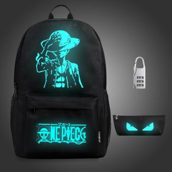 (3PCS/SET Backpack+Pouch+Lock) Glow in the Dark Night Light School Bag Travel Luminous Backpack (Big Anime) - intl Price Philippines