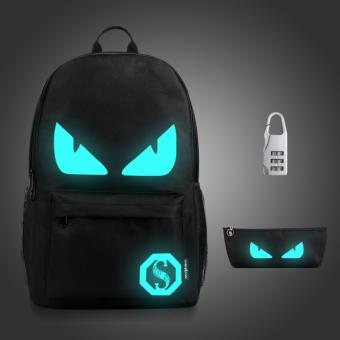 (3PCS/SET Backpack+Pouch+Lock) Glow in the Dark Night Light School Bag Travel Luminous Backpack (Medium Devil) - intl Price Philippines