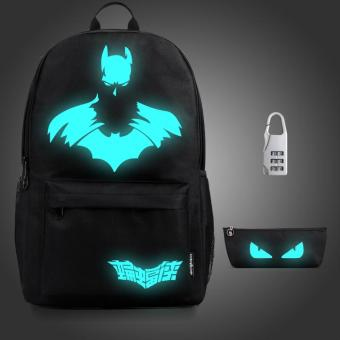 (3PCS/SET Backpack+Pouch+Lock) Glow in the Dark Night Light SchoolBag Travel Luminous Backpack (Big Batman) - intl Price Philippines