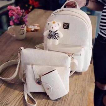 4 in 1 Korean Leather Backpack Bag Set School Bag with Bear WHITE Price Philippines