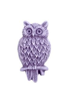 4pcs Resin Owl Vintage Style Animal Cabochon 25.5x14x5mm Purple