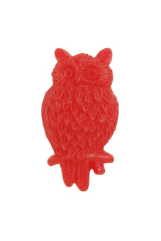 4pcs Resin Owl Vintage Style Animal Cabochon 25.5x14x5mm Red