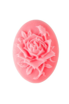 4pcs Resin Rose Flower Cameo Cabochon 25x18x5mm Pink