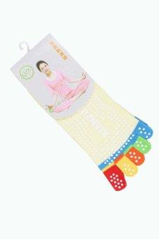 5-Toe Yoga Gym Non Slip Massage Toe Socks Yellow