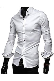 5006 Men's Shirts Long Sleeve Casual Stripe Cuff (White)