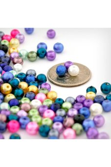 500pcs Round Glass Pearl Spacer Beads 4x4x4mm Assorted