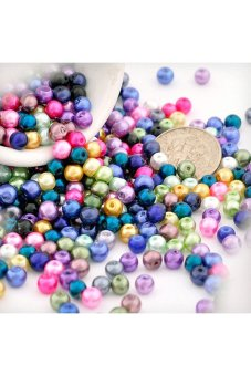 500pcs Round Glass Pearl Spacer Beads 4x4x4mm Assorted - picture 2