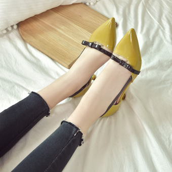 5cm small fresh fine with Pointed heels with shoes (Popular yellow-green color)