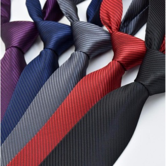 6 pcs Fashion Tie for Men Silk Necktie Casual Men's Ties BusinessWedding Party 8cm Black Grey Red Purple Red Navy Blue - intl