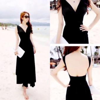 #728 Elegant Stretchable Infinity Maxi Dress - Black Price Philippines