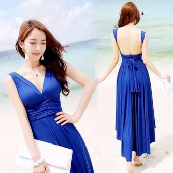 #728 Elegant Stretchable Infinity Maxi Dress - Royal Blue Price Philippines