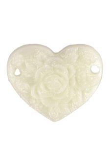 8pcs New Heart Peony Resin Flower Cabochons 15x13x1.5mm Creamy