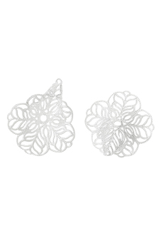 8YEARS B07781 Beads Caps (Silver) Set of 10