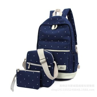A three-piece han edition canvas backpack(blue)