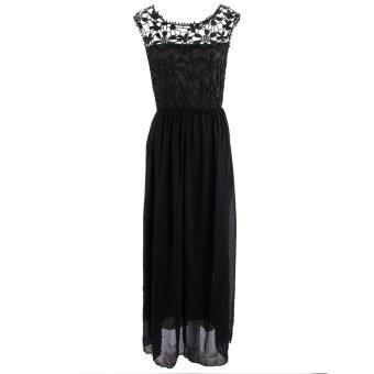 Acecharming Women Formal Long Lace Chiffon Backless Summer Evening Party Bridesmaid Dance Wedding Maxi Dress (Black) - Intl - 2
