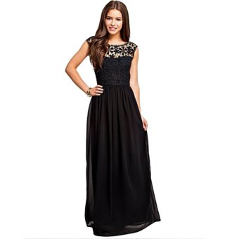 Acecharming Women Formal Long Lace Chiffon Backless Summer Evening Party Bridesmaid Dance Wedding Maxi Dress (Black) - Intl
