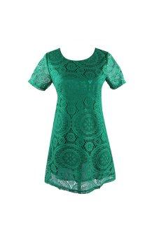 Acecharming Women Hollow Lace Crochet Short Sleeve Floral Party Mini Swing Dress Shirt Tops (Green) - Intl - 3