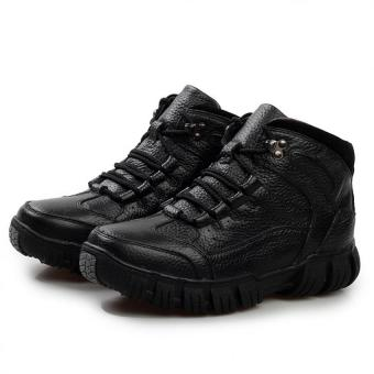 AD NK FASHION Men's Fashion Leather Safety Shoes Winter Boots(Black)AK186 - intl