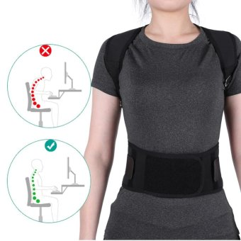 Adjustable Posture Correct Belt Back Lumbar Support Corrector Shoulder Band (Black M) - intl Price Philippines