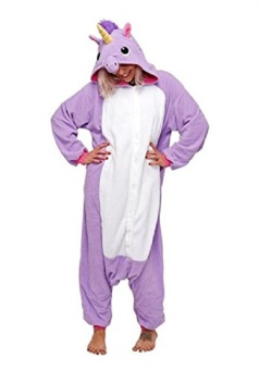 Adult Unisex Unicorn Animal Kigurumi Onesies Pajamas Cosplay Birthday Party Wear,Purple