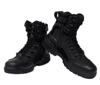 AFS Men's Outdoor Sport Army Combat Boots Travel Leather High-topBoots - black - 3