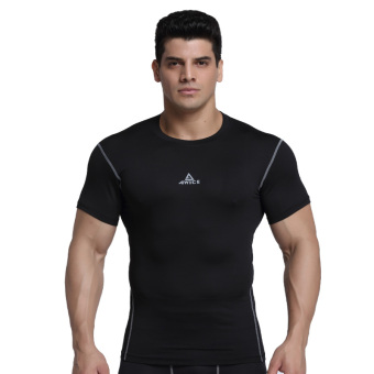 Ai Weisen running short sleeved fitness compression T-shirt slim fit clothing (Black Gray Line slim fit short sleeved)