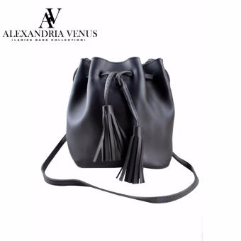 Alexandria Pastel Color Synthetic Leather Tassel Bucket ShoulderSling Bag