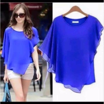Alicia Batwing Sleeve O-Neck Chiffon Loose Top Blouse (Blue)