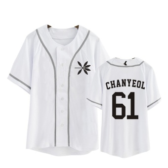 ALIPOP KPOP Korean Fashion EXO 4th Album THE WAR Cotton CardiganTshirt K-POP Button T Shirts T-shirt PT564 ( CHANYEOL White ) -intl