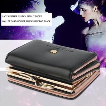 Allwin Lady Leather Clutch Bifold Short Wallet Card Holder Purse Handbag Black