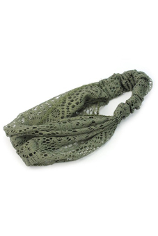 Amango Lace Headband Wide Bandanas (Dark Green) - picture 2