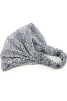 Amango Lace Headband Wide Bandanas (Grey) - picture 2