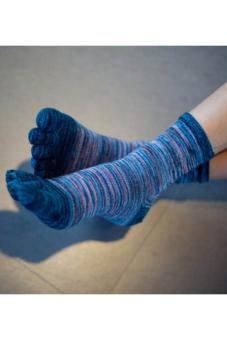 Amango Men Five Finger Toes Socks Sport Casual Retro Dark Blue